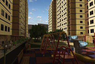 محوطه بیرونی برج های مسکونی ستاره قزوین