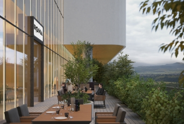 تراس رستوران ها با چشم انداز های طبیعی در سیتادیوم رشت